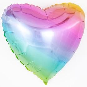 """Шар фольгированный 32"""" «Градиент», сердце, нежная радуга"""