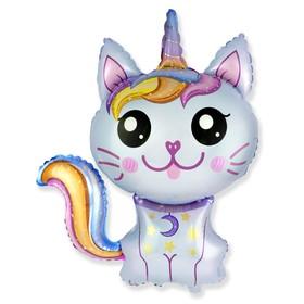 """Шар фольгированный 35"""" «Котёнок-единорог», цвет голубой"""