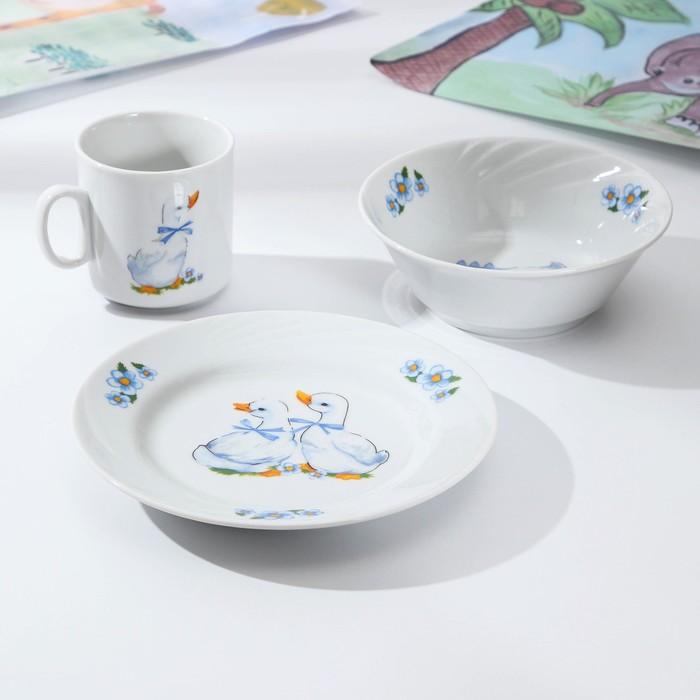 Набор посуды «Гусята», 3 предмета: кружка 200 мл, салатник 360 мл, тарелка мелкая 17 см - фото 490614