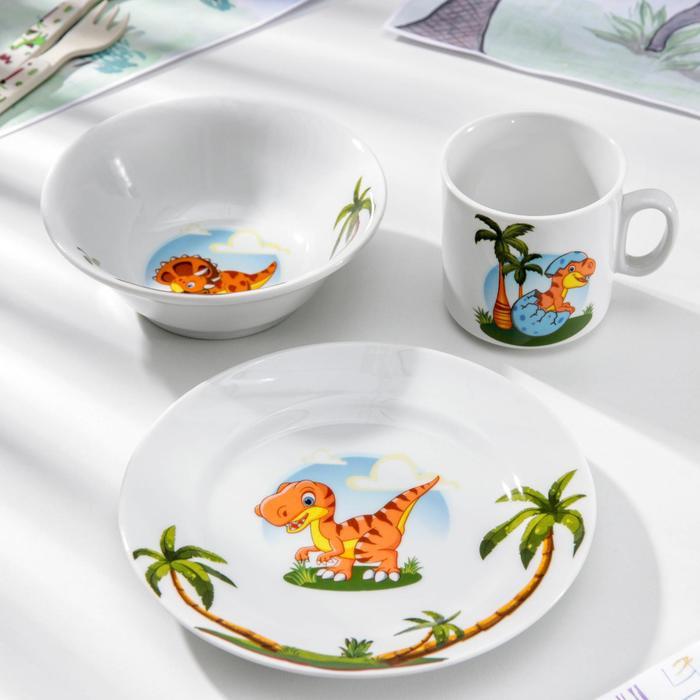 Набор посуды «Динозаврики», 3 предмета: кружка 200 мл, салатник 360 мл, тарелка мелкая d=17 см - фото 490618