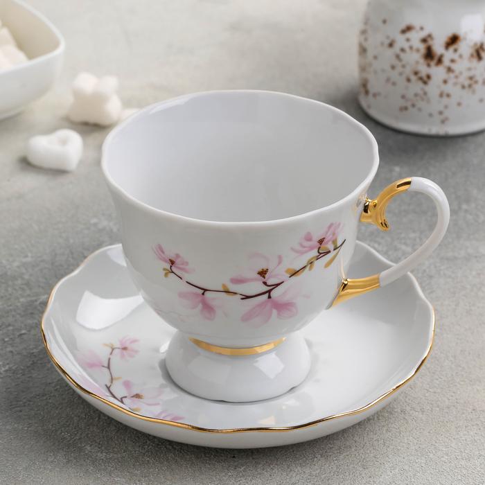 Чайная пара «Цветок миндаля», 300 мл, отводка золотом, ф. Бутон - фото 241069