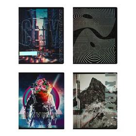 Тетрадь 48 листов в клетку Greenwich Line Glitch, обложка мелованный картон, матовая ламинация, блок 70 г/м2, тиснение голографической фольгой