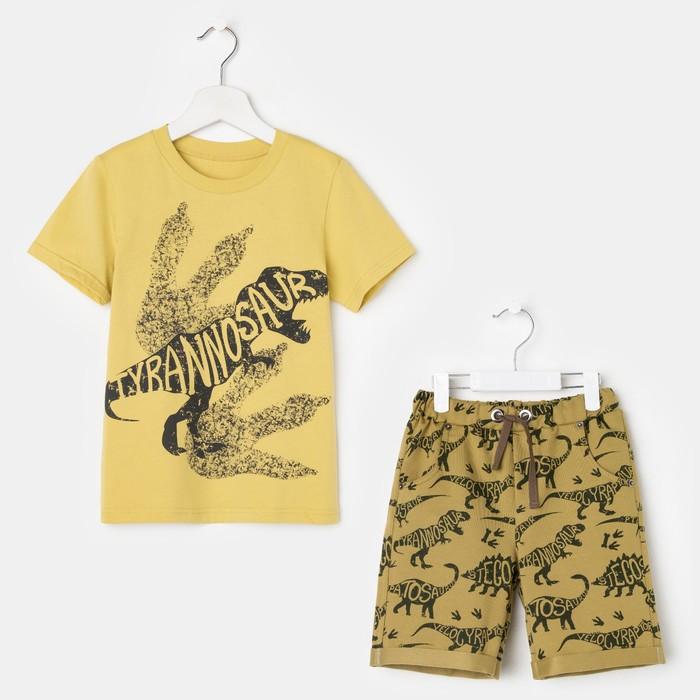 Комплект для мальчика (футболка, шорты), цвет оливковый/хаки, рост 134 см (68)