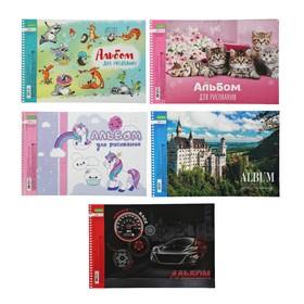 Альбом для рисования А4, 24 листа на гребне «Ассорти», обложка мелованный картон, блок 100 г/м2, МИКС