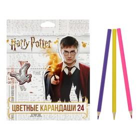 """Карандаши цветные 24 цвета """"Гарри Поттер"""", заточенные, картонная коробка, европодвес"""
