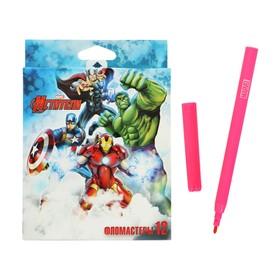 Фломастеры 12 цветов MARVEL «Мстители», картонная коробка, европодвес