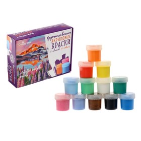 Краска акриловая художественная в наборе, 12 цветов х 20 мл Calligrata, морозостойкая, в картонной коробке