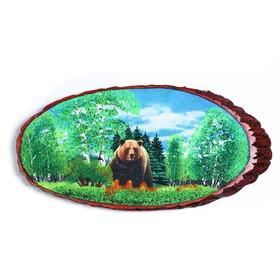 """Панно на спиле """"Мишка в лесу"""", 60 см, каменная крошка, горизонтальное"""