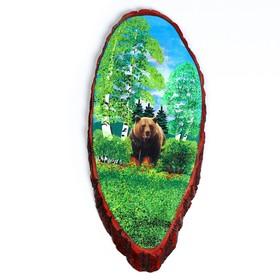 """Панно на спиле """"Мишка в лесу"""", 60 см, каменная крошка, вертикальное"""