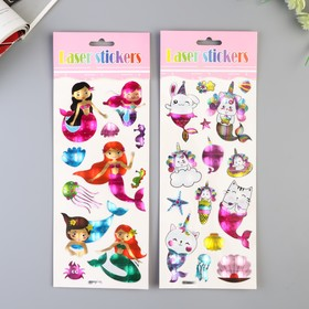 "Sticker plastic holography ""Mermaid/mermaid-cat"" MIX 29х11 cm"
