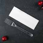 Set devices Premium 2 in 1, fork and napkin transparent white