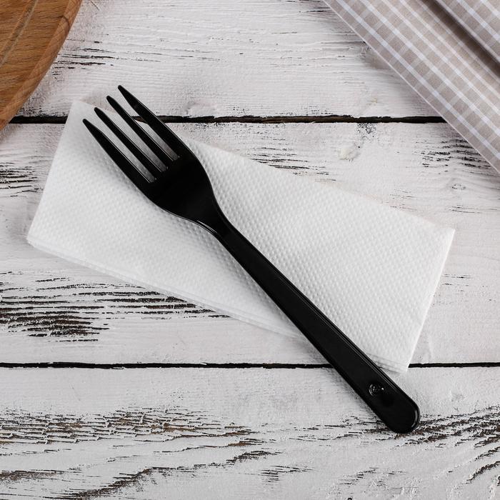 Набор одноразовых приборов «Премиум», 2 в 1, вилка чёрная и салфетка белая