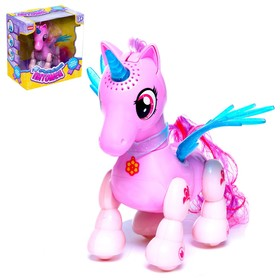 "Interactive toy ""Unicorn"" rides, with light and with sound, reagir a whipping"