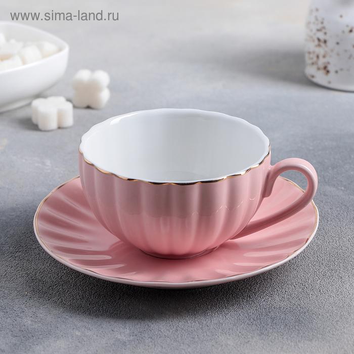 A couple of tea components: Cup 200 ml, saucer d=15 cm, colour pink
