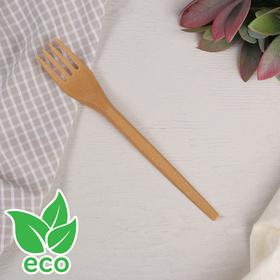 Набор одноразовых вилок, 16,8 см, древесное волокно, 6 шт, цвет от золотисто-охристого до коричневого