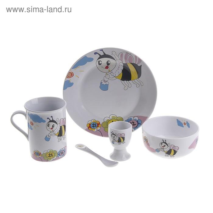 """Набор детской посуды """"Пчелка"""", 5 предметов: кружка 260 мл, миска 110 мм, тарелка 190 мм, ложка, подставка для яиц"""