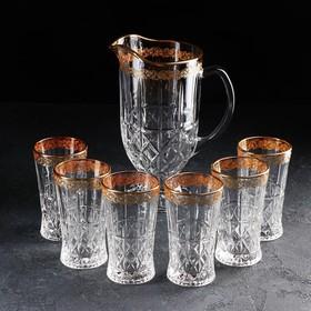 Набор питьевой «Золотая вязь», 7 предметов: кувшин 1145 мл, 6 стаканов 225 мл 6 шт, с отводкой
