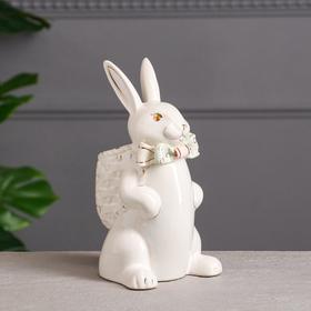 """Сувенир-органайзер """"Кролик с рюкзаком"""", белый"""