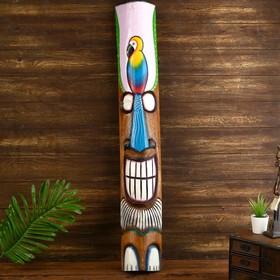 "Маска ""Абориген с попугаем"" дерево 15х6х100 см"