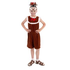 Карнавальный костюм «Бычок Борька», комбинезон из плюша, маска-ободок, р. 56, рост 104 см