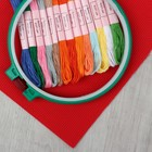 Набор для вышивания крестиком: канва без рисунка 30×20 см, мулине 13 шт, пяльцы d16 см