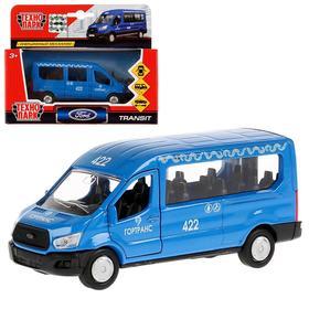 Машина металлическая, инерционная Ford Transit, цвет синий, 12 см, открывающиеся двери