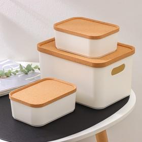 Набор органайзеров для хранения Korely, 3 предмета: 2,4 л / 0,76 л / 0,76 л, цвет слоновая кость