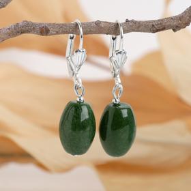 Earrings Jade oval