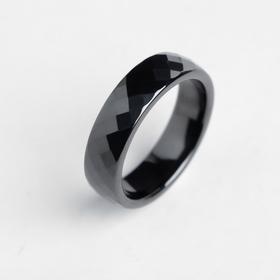 """Кольцо керамика """"Минимал"""" огранка ромб, 6мм, цвет чёрный, 17 размер"""