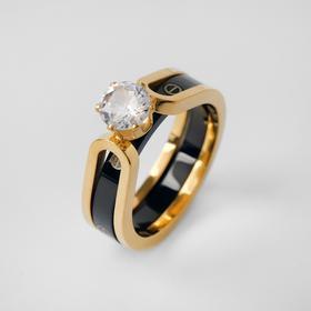 """Кольцо керамика """"Карат"""", цвет чёрный в золоте, 17 размер"""