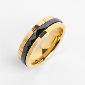 Ring ceramic rim, 6mm, color black gold, size 17