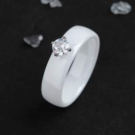 "Ring ceramic ""Crystal"" 6mm, colour white, size 18"