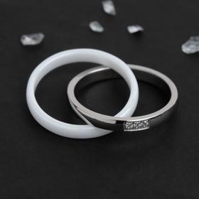 """Кольцо керамика """"Дабл"""" три кристалла, цвет белый в серебре, 18 размер"""