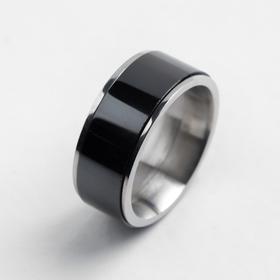 """Кольцо керамика """"Вайд"""", 1см, цвет чёрный в серебре, 17 размер"""