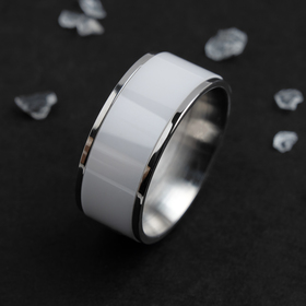 """Кольцо керамика """"Вайд"""", 1см, цвет белый в серебре, 16 размер"""
