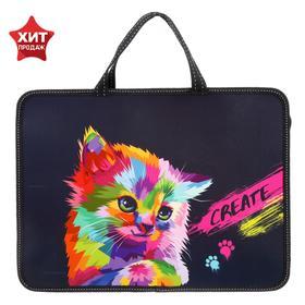 """Folder with handles plastic, A4 330 x 240 x 80 mm Calligrata Calligrata """"Cat"""""""