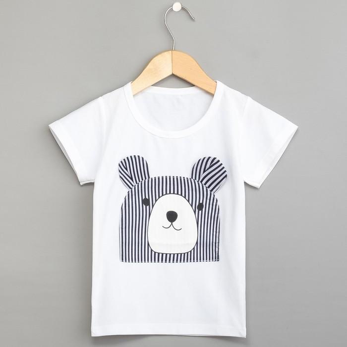 Футболка для мальчика «Медвежонок», цвет белый, рост 104 см - фото 1945926
