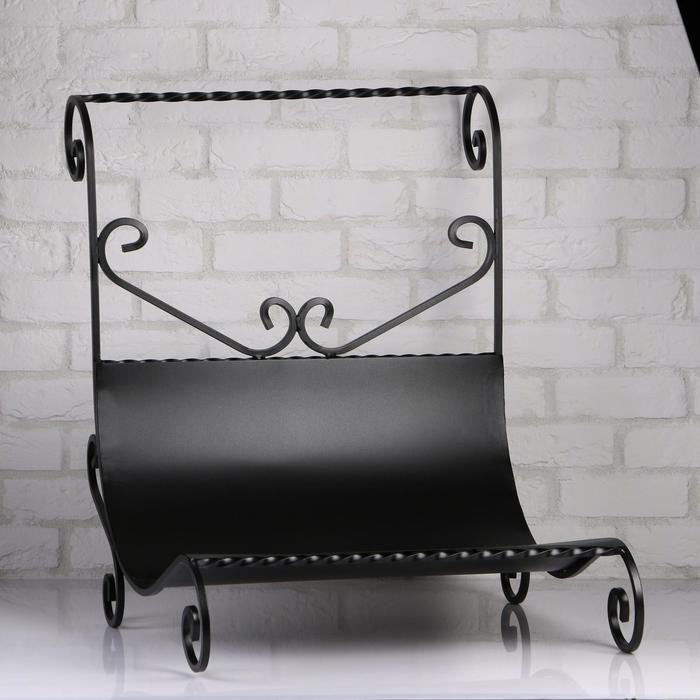 Дровница кованная с поддоном, черная, 62х75х75см