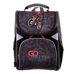 Ранец Стандарт GoPack 5001S, 34 х 26 х 13, для мальчика, Go Moto, серый