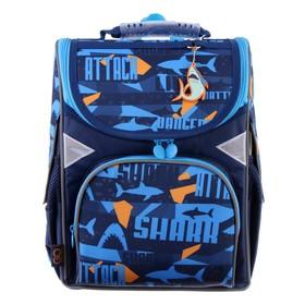 Ранец Стандарт GoPack 5001S, 34 х 26 х 13, для мальчика, Shark, синий