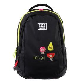 Рюкзак молодежный GoPack 133, 43 х 30 х 16, для девочки, Bright cats, чёрный