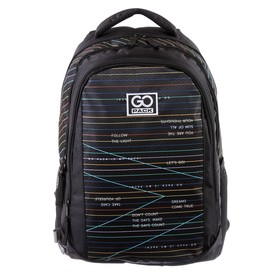 Рюкзак молодежный GoPack 133, 43 х 30 х 16, Stripes, чёрный