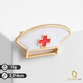 """Брошь """"Шапка медика"""", цвет красно-белый в золоте"""