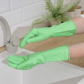 Перчатки резиновые «С экстрактом алоэ», с хлопковым напылением , размер S, цвет зелёный
