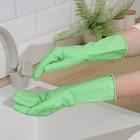 Перчатки латексные Malibri, с хлопковым напылением «С экстрактом алоэ», размер M, цвет зелёный