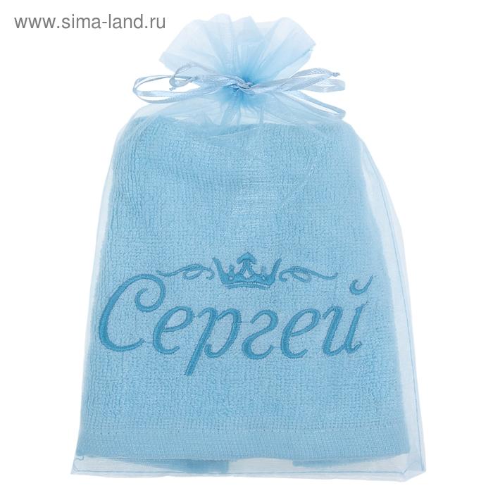 Полотенце с вышивкой 100% хлопок Сергей 32*70 см 370гр/м2