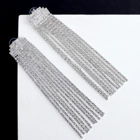 """Earrings dangling with crystals """"Waterfall"""" semicircle, color white silver"""