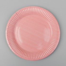 Plate, paper, plain color pale pink