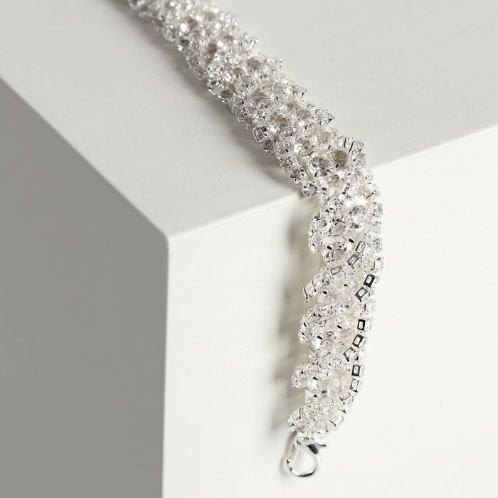 """Браслет со стразами """"Амелия"""" волна, цвет белый в серебре, 20см"""