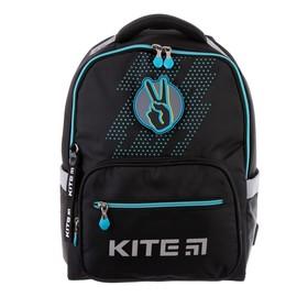 Рюкзак школьный с эргономичной спинкой Kite 770, 38 х 28 х 13, для мальчика Be happy, чёрный